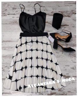 Falda midi estampada mujer