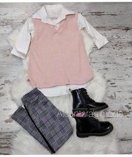 Pantalón cuadros niña gris