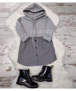 Vestido niña cuadros con capucha