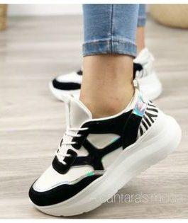 Zapatillas mujer blanco y negro