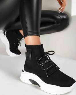 Zapatilla mujer tipo calcetín negra