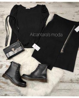 Falda larga mujer color negro