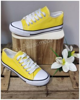 Zapatilla lona color amarillo
