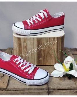 Zapatilla lona color roja