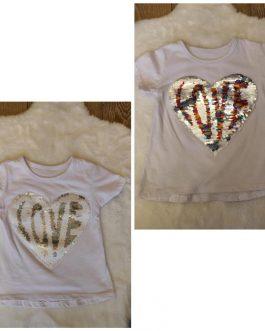 Camiseta niña Love lentejuelas