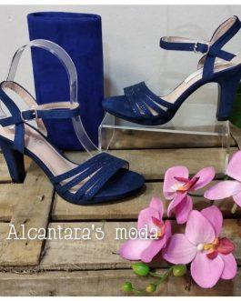 Sandalia azul tacón mujer