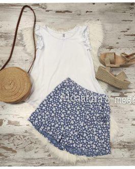 Falda pantalón flores