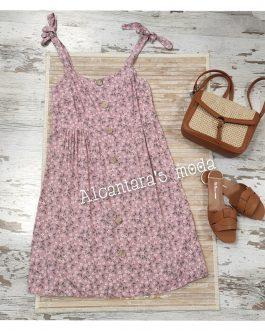 Vestido flores con tirantes rosa