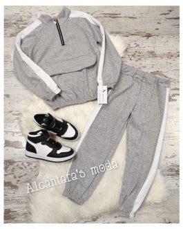 Chandal gris y blanco