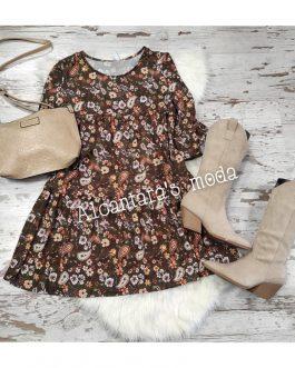 Vestido flores kaki
