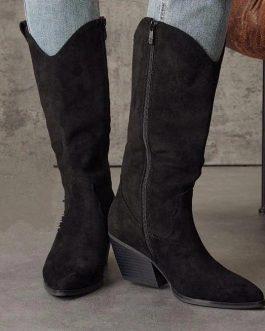 Bota alta negra mujer con tacón