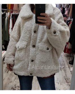 Abrigo teddy blanco mujer