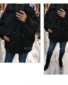 Abrigo teddy negro mujer
