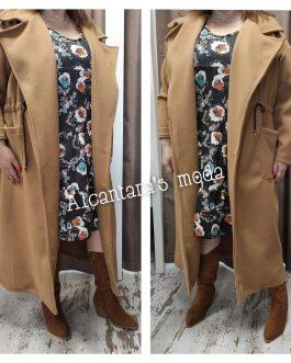 Chaqueta abrigo paño largo mujer