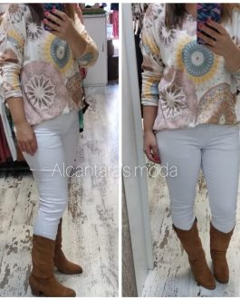 Pantalón largo mujer blanco