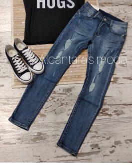 Pantalón vaquero jeans mujer roto desgastado