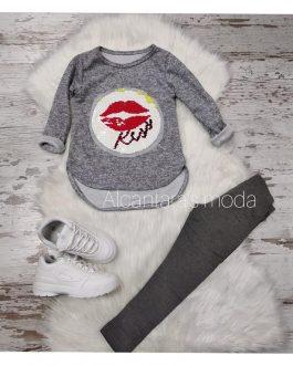 Sudadera niña KISS gris