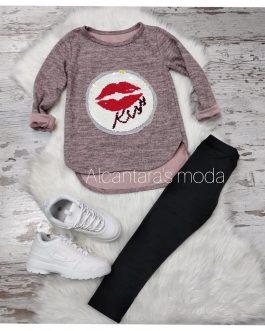 Sudadera niña KISS rosa