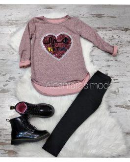 Sudadera niña corazón rosa