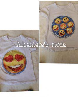 Camiseta niña emoji lentejuelas