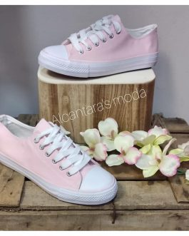 Zapatilla lona color rosa