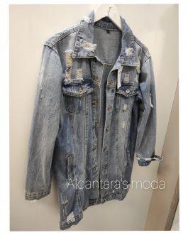 Cazadora denim larga azul jeans
