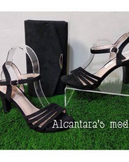 Sandalia negra tacón mujer