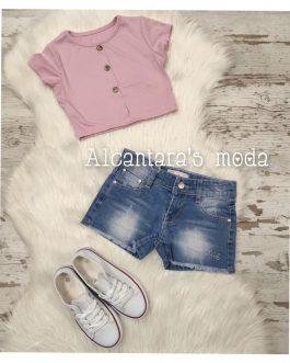 Camiseta niña corta rosa
