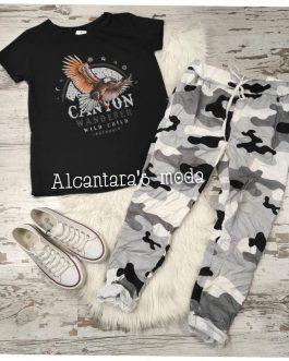 Pantalón camuflaje blanco y negro