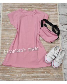 Vestido niña con riñonera rosa