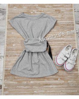 Vestido niña con riñonera gris