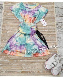 Vestido niña con riñonera tie dye